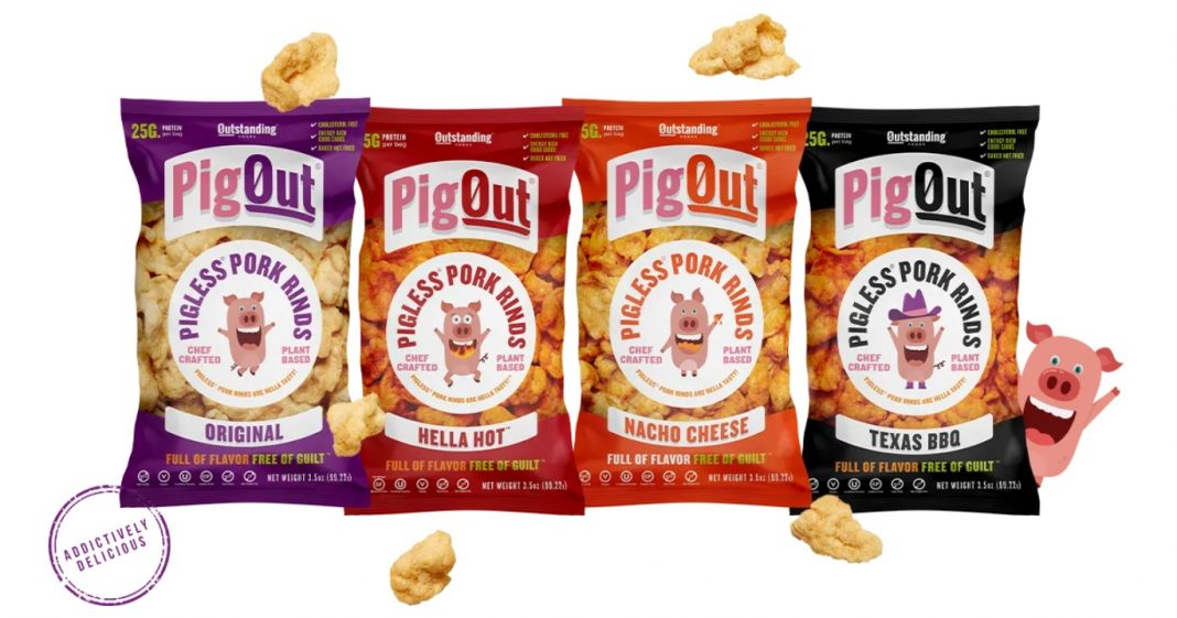 Outstanding Foods new PigOut Pigless Pork Rinds All Four Varieties hero